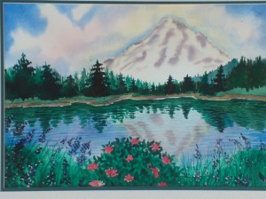 Watercolor painting of Mt. Hood reflected in body of water without sandbar