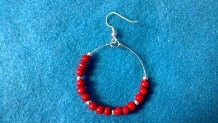 Finished beaded hoop earring with jump ring and earwire attached