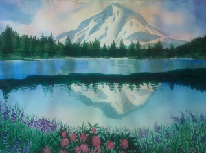 A watercolor of Mt. Hood reflected in a body of water containing a sandbar