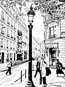 Same photograph of Street in Paris using Sketch Me App